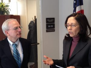 "Charles ""Max"" Moehs discusses climate change with Sen. Maria Cantwell (WA)"