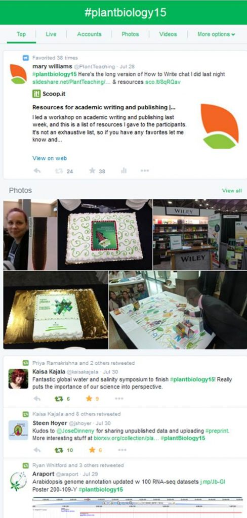 An example of a conference Twitter stream, found by searching for the conference hashtag.