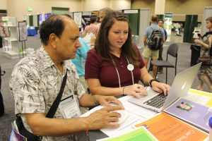 Wiki_Edu_at_ASPB_at PB15 w Subhash Minocha and Jami Mathewson of WikiEdu
