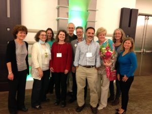 Pam Green with former lab members and other PRL alumni (from left to right: Pam Green, Rita Varagona, Susanne Hoffmann-Benning, Pauline Bariola, John Scott-Craig, Crispin Taylor, Gustavo MacIntosh, Linda Danhoff, Esther van der Knaap, Nikki LeBrasseur)
