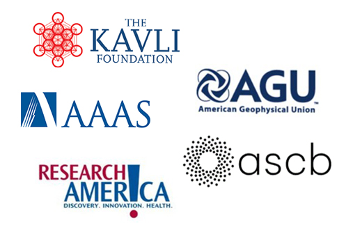 Logos for the Kavli Foundation, AAAS, AGU, Research!America, and ASCB.